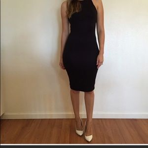 Black sleeveless muscle dress